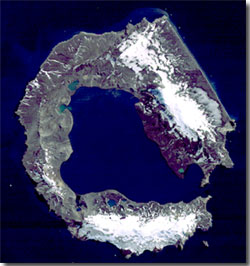 True colour satellite image of Deception Island